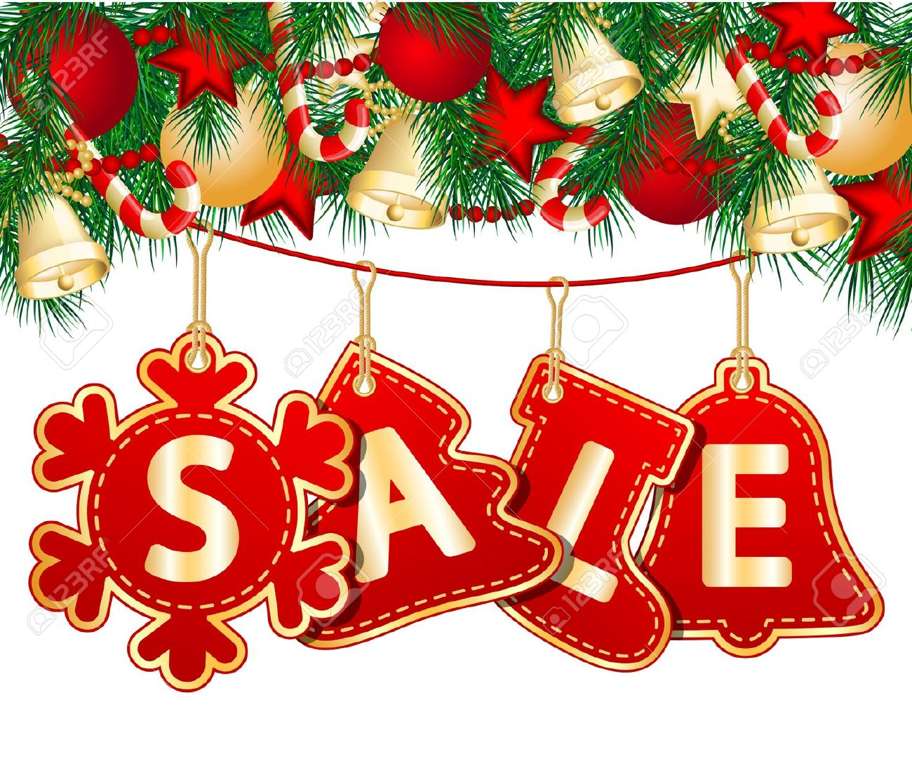 16451786-Christmas-Sale-Tags-on-christmas-signs-illustration-Stock-Vector